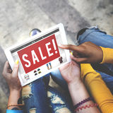 Annonsera den kommersiella Digital apparaten som marknadsför nätverkandebegrepp arkivfoto