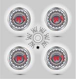 Annonsera etiketten, cirkel fyra med textförsäljning Royaltyfri Foto