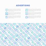 Annonsering av begrepp med den tunna linjen symboler royaltyfria bilder