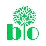 Annonsering av BIO logo Ett exempel av en vektorteckning vektor illustrationer