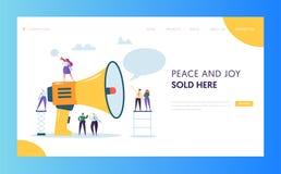 Annonsering av design för mall för Website för sida för massmarknadsföringslandning Kvinnaskrihögtalare till grupp människorwebbs royaltyfri illustrationer