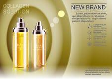 Annonsering av en kosmetisk produkt innehöll olika färger av flaskor Royaltyfri Foto