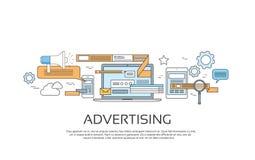 Annonsering av online-teknologi för internet för rengöringsdukbanerbegrepp vektor illustrationer