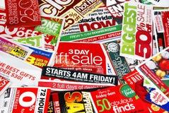 annonsering av pappersförsäljning Royaltyfria Foton
