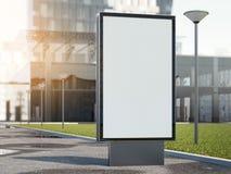 Annonsering av ställningen på en gata med kontorsbyggnad framförande 3d Royaltyfri Bild
