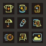 annonsering av symbolsserie Arkivbild