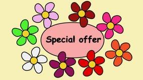 Annonsering av video video 4k med det speciala erbjudandet för inskrift Flyga blommor runt om specialt erbjudande för text