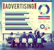 Annonsering begrepp för befordran för Digital marknadsföring av kommersiellt Royaltyfri Bild
