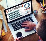 Annonsering begrepp för befordran för Digital marknadsföring av kommersiellt arkivfoto