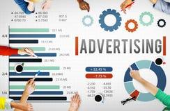 Annonsering begrepp för befordran för Digital marknadsföring av kommersiellt stock illustrationer