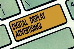 Annonsering för Digital skärm för ordhandstiltext Affärsidéen för framför ett kommersiellt meddelande genom att använda diagramta stock illustrationer