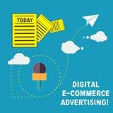 Annonsering för handskrifttextDigital E kommers Begreppsbetydelsehandel av varor och tjänst genom att använda informationen om re stock illustrationer