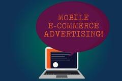 Annonsering för kommers för handskrifttext mobil E Begrepp som betyder bruk av mobila enheter, i att marknadsföra märkescertifika royaltyfri illustrationer