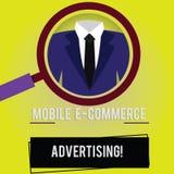 Annonsering för kommers för handskrifttext mobil E Begrepp som betyder bruk av mobila enheter, i att marknadsföra märkesförstorin vektor illustrationer
