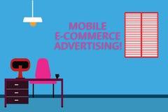 Annonsering för kommers för handskrifttext mobil E Begrepp som betyder bruk av mobila enheter, i att marknadsföra märket Work Spa vektor illustrationer