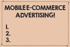 Annonsering för kommers för handskrifttext mobil E Begrepp som betyder bruk av mobila enheter, i att marknadsföra rusat brutet fö vektor illustrationer