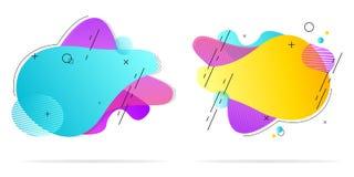 Annotation des formes liquides Conception liquide Gradient d'isolement de vague avec l'addition des lignes et des points Illustra illustration stock