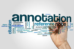 Annotation word cloud concept on grey background.  Stock Photography