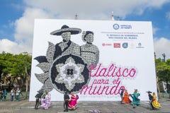 Annotazione di Guinness per il più grande mosaico del mondo fatto con i cappelli Fotografia Stock Libera da Diritti