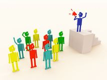 Announce. Ment from a blue 3d man to a group of different people in business royalty free illustration