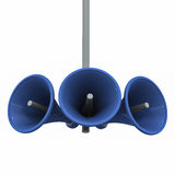 Announce. Ment concept, loudspeakers on a hanging pole, suspended on white background, important declaration of ment being made Stock Photography