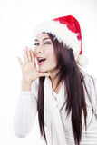 Announce Christmas Sale by woman isolated in white. Mrs Claus is announcing christmas sale, isolated in white Stock Image