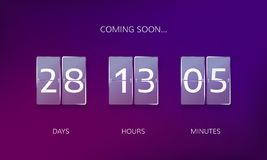 Announce countdown design. Count days, hours and minutes to caming soon event. Vector illustration Stock Images