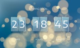 Announce countdown panel design. Count days, hours and minutes. Web banner countdown to New Year. Vector illustration on blur xmas. Background Royalty Free Stock Images