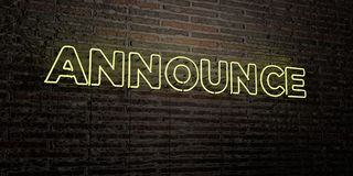 ANNOUNCE -Realistic Neon Sign on Brick Wall background - 3D rendered royalty free stock image. Can be used for online banner ads and direct mailers Royalty Free Stock Photo