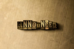 ANNOUNCED - close-up of grungy vintage typeset word on metal backdrop. Royalty free stock illustration.  Can be used for online banner ads and direct mail Royalty Free Stock Image