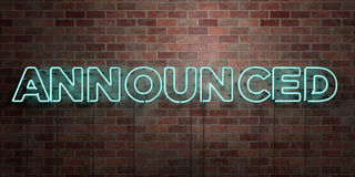 ANNOUNCED - fluorescent Neon tube Sign on brickwork - Front view - 3D rendered royalty free stock picture. Can be used for online banner ads and direct mailers Stock Images