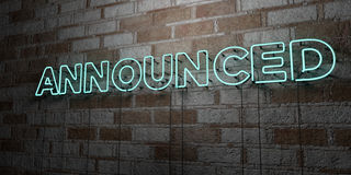 ANNOUNCED - Glowing Neon Sign on stonework wall - 3D rendered royalty free stock illustration. Can be used for online banner ads and direct mailers Stock Image