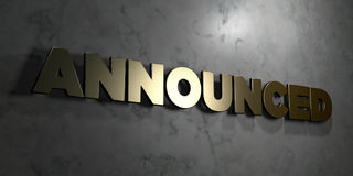 Announced - Gold sign mounted on glossy marble wall  - 3D rendered royalty free stock illustration Stock Photos