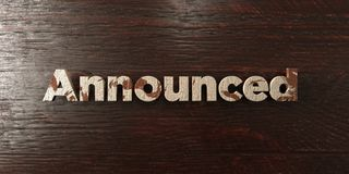 Announced - grungy wooden headline on Maple  - 3D rendered royalty free stock image. This image can be used for an online website banner ad or a print postcard Stock Photography