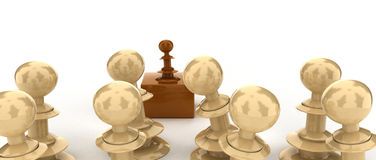 Announcement. Brown chess piece as leader having a speech in front of his team. illustration is isolated on white background royalty free illustration
