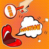 The announcement of the auction in the style of pop art. Will attract attention to your promotions Stock Images