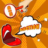 The announcement of the auction in the style of pop art. Will attract attention to your promotions Stock Photography