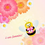 Announcement of baby. Illustration of funny bee announces newborn royalty free illustration
