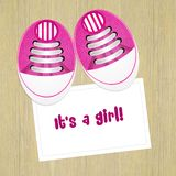 Announcement of birth with baby shoes. Illustration of announcement of birth with baby shoes vector illustration
