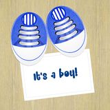 Announcement of birth with baby shoes. Illustration of announcement of birth with baby shoes stock illustration