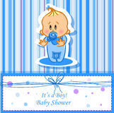 Announcement card with baby boy,vector Stock Images