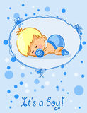 Announcement card with baby boy,vector. Illustration picture royalty free illustration
