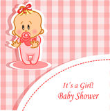 Announcement card with baby girl,vector. Illustration picture stock illustration