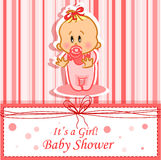 Announcement card with baby,vector. Announcement card with baby girl,vector illustration picture royalty free illustration