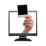 Announcement coming out from LCD screen Stock Photography