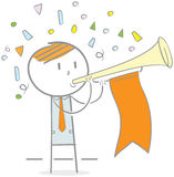Attention. Doodle illustration of businessman blowing a trumpet to get attention royalty free illustration