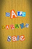 Announcement of a garage sale Royalty Free Stock Photos