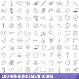 100 announcement icons set, outline style. 100 announcement icons set in outline style for any design vector illustration Stock Photo
