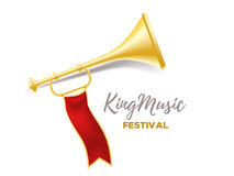 Announcement of a music festival concept. Realistic vector illus. Tration of shiny golden metal trumpet with red ribbon and title on white background.  3d design Stock Image