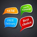 Announcement paper speech labels. Royalty Free Stock Images